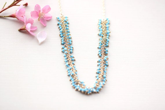Turquoise Beads Gold Necklace Tiny Aqua Sky Blue Beads By