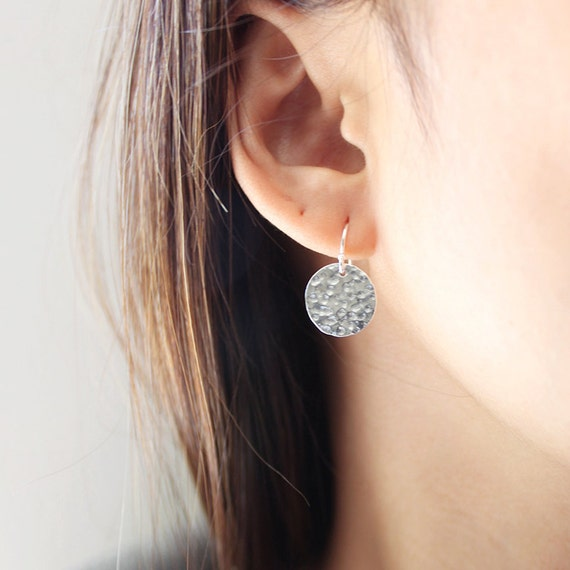 Moon Drop Earrings - simple sterling silver circle earrings, minimalist and modern everyday jewelry