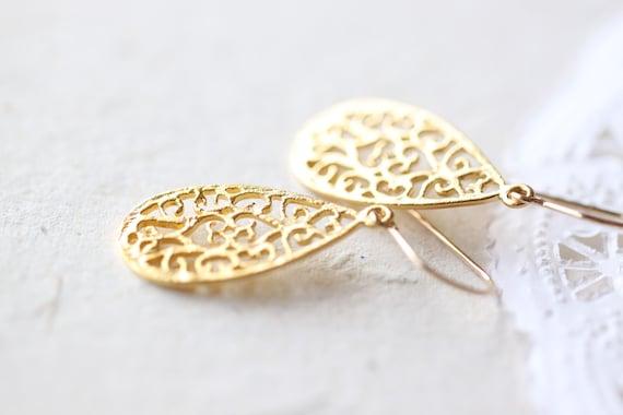 Small Gold Teardrop Earrings - simple vermeil tear drop filigree, golden flower petal jewelry