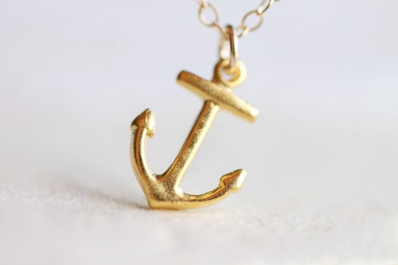 Anchor necklace nautical gold vintage inspired 14k gold aloadofball Choice Image