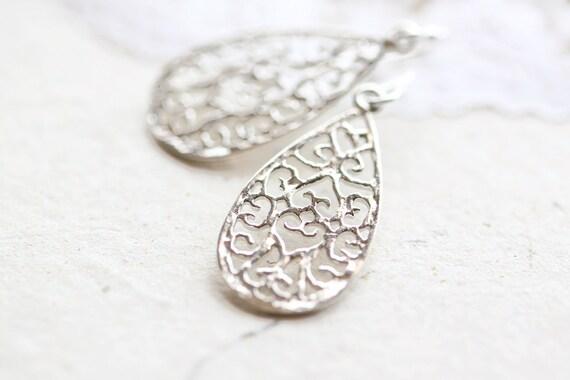 Small Silver Teardrop Earrings - simple sterling silver tear drop filigree