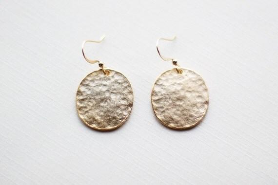 Hammered Gold Circle Earrings - minimalist vermeil flat gold medium size circle jewelry