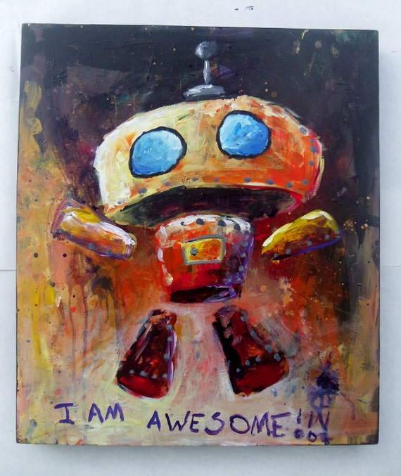 Colorful Red Orange Purple and Yellow Illustration Robot Painting on Wood