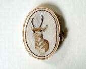 Antelope Portrait Painting on Embroidery Hoop Art - ORIGINAL
