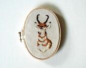 Antelope Portrait Embroidered on Canvas - Oval Hoop Art - ORIGINAL