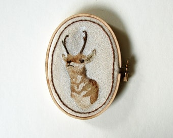 Antelope Portrait Painting on Embroidery Hoop Art - ORIGINAL