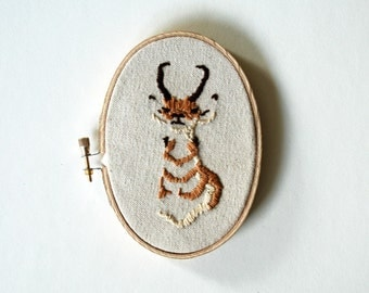 Antelope Portrait Embroidered on Canvas - Oval Hoop Art - ORIGINAL