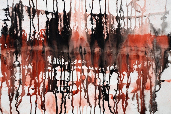"""Abstract Ink Drips ORIGINAL - 22"""" by 15"""""""