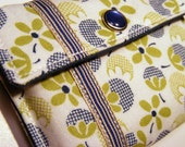Card wallet / gift card holder in white, green and blue floral print with striped trim