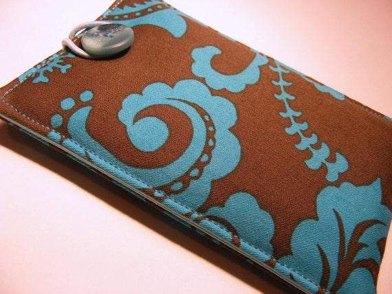 Phone sleeve / case in aqua paisley print