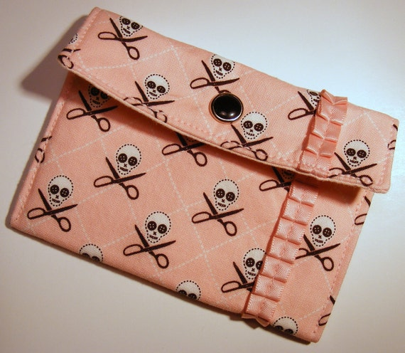 Card wallet / gift card holder in pink skull and scissor print with pink satin trim