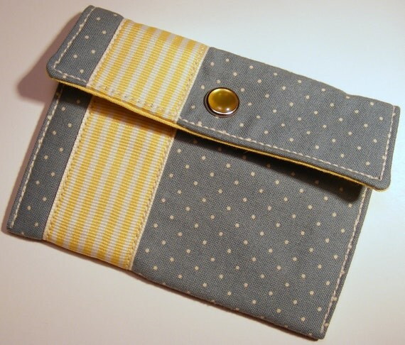 Card wallet / gift card holder in blue and white polka dot print with yellow striped ribbon trim