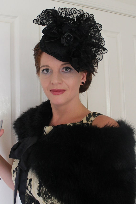 SALE 20% OFF on Black sinamay fascinator with black lace and rose detail