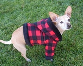 Red Plaid Flannel Dog Hoodie Trimmed in Black Soft Cuddle Fleece