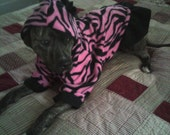 Pink Zebra Ruffles and Bow Large Breed Dog Hoodie