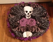"""Purple Skull and Roses Medium 36"""" Dog Bed  RED ALSO AVAILABLE"""