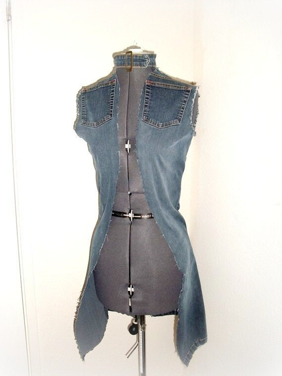 Upcycled denium vest with a belt choker