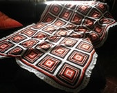 Handmade Crocheted Blanket Spanish Vintage Wool Bedcover