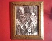 """Gustave Dore """"Barbe Bleu"""" Art Print Vintage Framed Printed Illustration"""