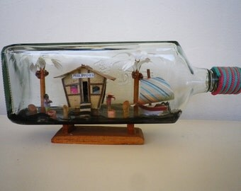 Philippines in a Bottle Upcycled Vintage Art Glass