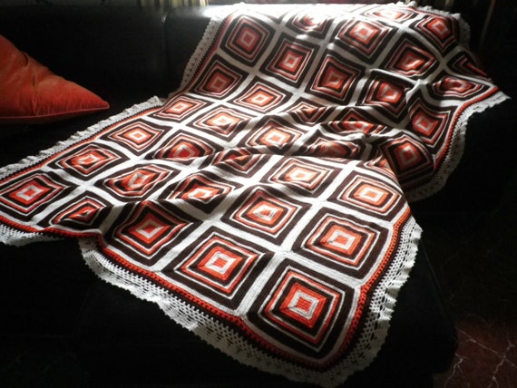 Handmade Crocheted Blanket Spanish Vintage Wool Bedcover