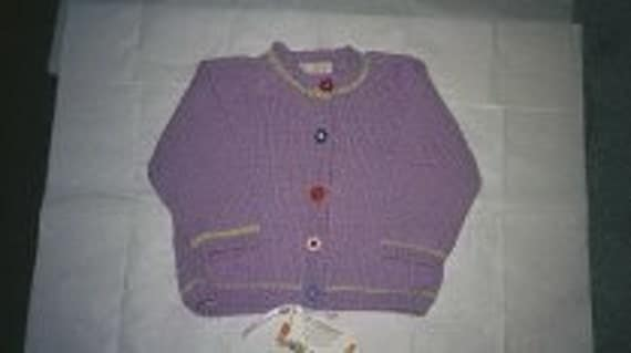 Handknit Cardigan Sweater for Babies, 6mos, 9mos, 12mos