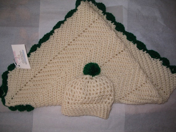 Irish Style Crocheted Zig-Zag Style Afghan Blankets  for Babies, Toddlers and Tam O'Shanter