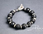 MEN - Lava rock and silver plated Men's bracelet