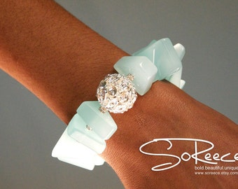 Aquamarine Blue, Silver, white, crystal beaded bracelet with toggle clasp - The Glamorous Life