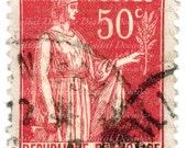 Vintage Republique Francaise Stamp Illustration -  Large Scan - France French Postes Postage Stamp Foreign Red Woman - Digital Image