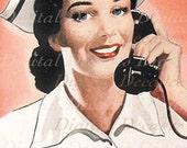 Nurse Medical Sick Get Well Woman Test Results Call - Digital Image - Vintage Art Illustration