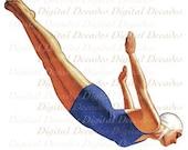 Woman Diver Swim Pool - Digital Image - Vintage Illustration