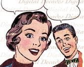 Retro Cartoon Comic Couple Man Woman Talk Balloons Vintage Art Illustration - Digital Image