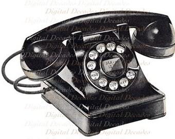 Telephone Talk Communication Phone Land Line - Digital Image - Vintage Art Illustration