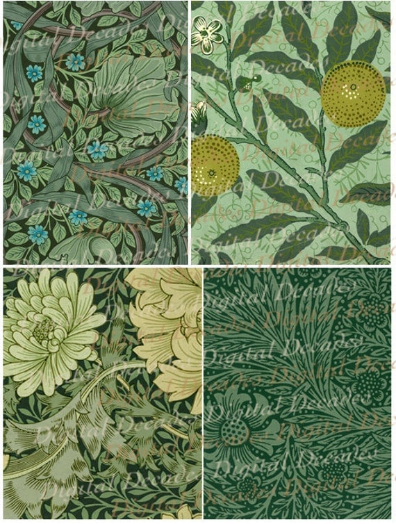 Art Nouveau Floral Greens Wallpaper Backgrounds Set of 4 - Digital Image Vintage Art Illustration