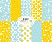 BUY 2 GET 2 FREE - Digital Scrapbook Paper Clip Art - Blue Yellow Patterns Collection