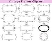 Doodle Frames Clipart Set Decorative Frames Collection Vintage Clip Art Graphics