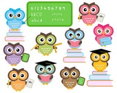 Cute Owls At School - Classroom Education Clip Art - Personal and Commercial Use