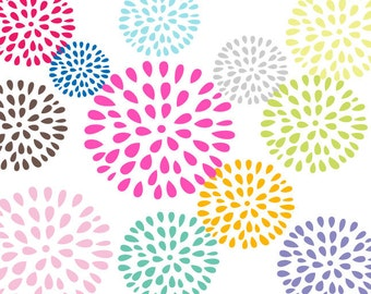 Blooming Flowers Clipart 12 Bright Color Digital Flowers