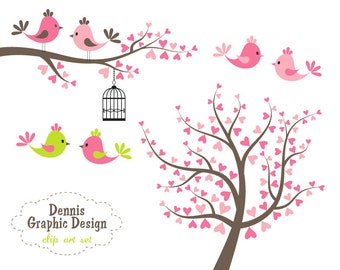 Valentines Day Bird Clipart Set Birds Trees Branches Clip Art Graphics