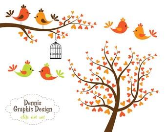 Bird Clipart Orange Bird Tree Branch Birdcage Clipart