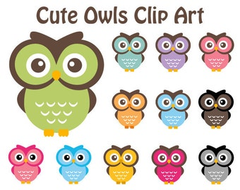 Cute Owl Clipart Personal and Commercial Use
