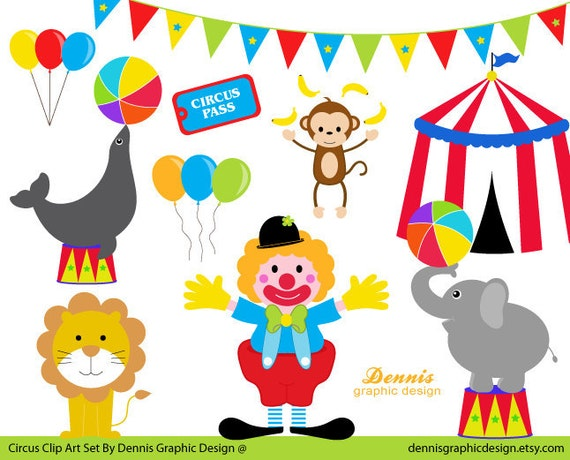 BUY 2 GET 2 FREE Circus Clip Art Set by DennisGraphicDesign