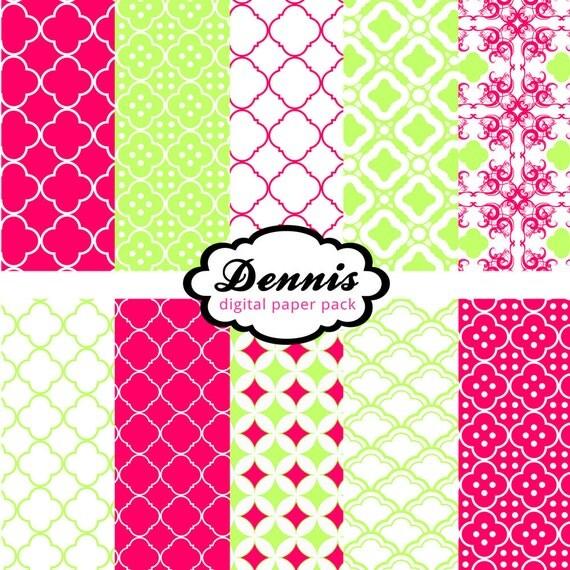 Pink and Green Quatrefoil Digital Paper Set Scrapbooking Graphics