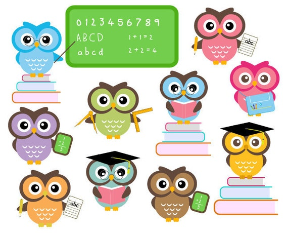 Owl School Clipart Classroom Education Clip Art  Scrapbooking Graphics Personal and Commercial Use
