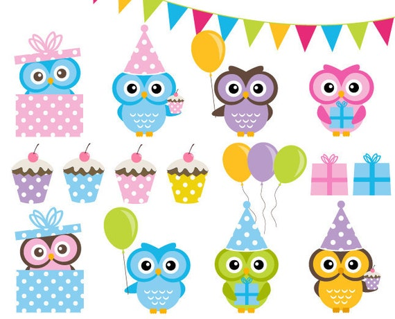 Birthday Party Clipart Set Cute Owls Party Clip Art Graphics