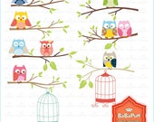 Instant Downloads, Digital Cute Owl Clip Art, For Your Invites Cards Making, DIY Projects, Personal and Small Commercial Use. BP 0237