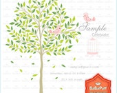 Green Leaf Tree and Pink Birds Clip Art. Personal and Small Commercial Use. BP 0243