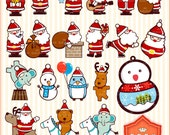 Instant Downloads, Digital Santa Claus and Friends Cliparts, Personal and Small Commercial Use, BP 0333