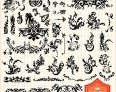 Instant Downloads, 48 Damask Clip Art. For Wedding Invitations, Cards, Handmade Crafts Projects. Personal and Small Commercial Use. BP 0347
